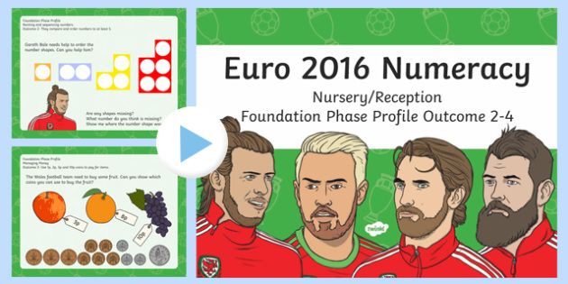 Euro 2016 Numeracy Nursery Reception Foundation Phase Profile Outcome 2 to 4 PowerPoint-Welsh