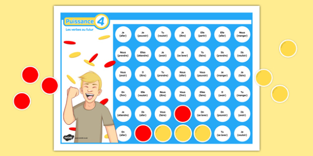 Four in a Row Future Tense Self-Checking Board Game French - Play, grammar, verbs, futur, conjugate, conjugation