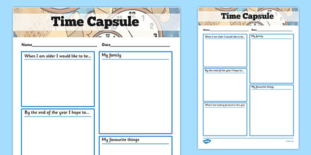 Time Capsule Transition Writing Frame Writing Frame Time