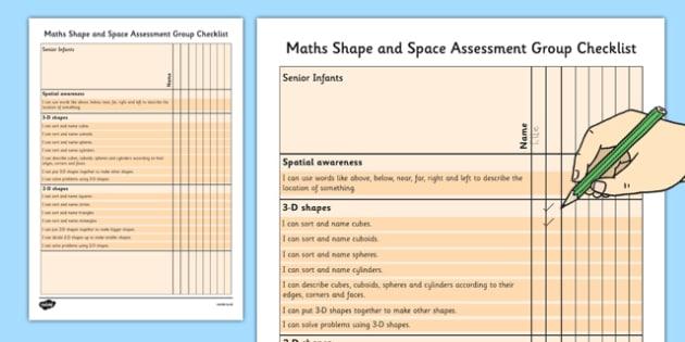 1999 Curriculum Senior Infants Maths Shape and Space Assessment Group Checklist - roi, irish, gaeilge, assessment checklist, maths, senior infants, shape and space