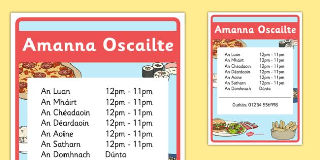 An Bhialann The Restaurant Role Play Opening Times Irish Gaeilge - restaurant, bialann, an bhialann, food, bia, role play, Aistear, menu, display, resource pack, irish, gaeilge, comhra, opening times, amanna oscailte