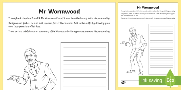 Character Study Of Mr Wormwood To Support Teaching On Matilda