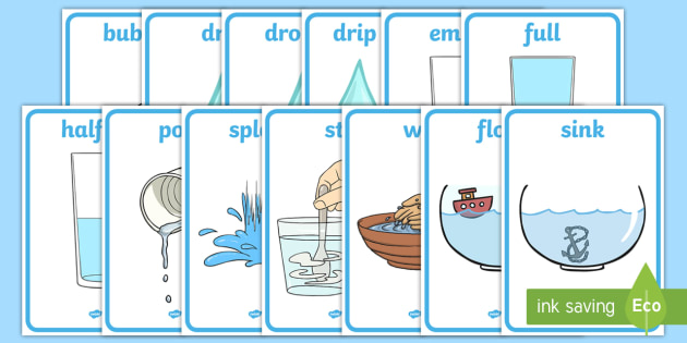 Water Area Display Words - Water area, water play, water, water display, splash, drop, drip, wet, float, sink