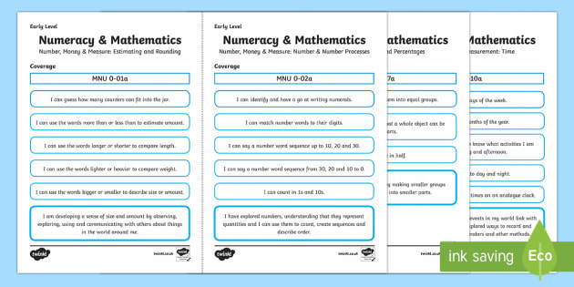 CfE Early Level Numeracy & Maths Child Friendly Tracker Assessment Tracker