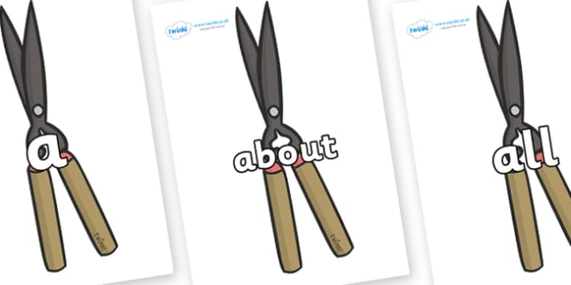 100 High Frequency Words on Shears - High frequency words, hfw, DfES Letters and Sounds, Letters and Sounds, display words