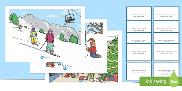Winter Scenes and Question Cards Pack English/Romanian - Winter Scenes and Question Cards Pack - winter scenes, question cards, pack, wnter, wintre, Romanian