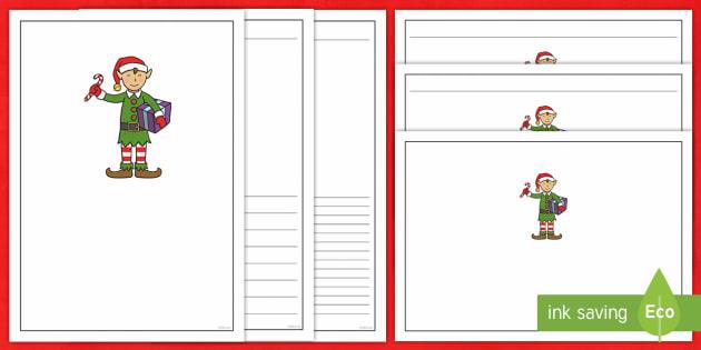 Christmas Elf Letter Writing Frames - elf, christmas, writing frame, xmas, writing, english, literacy, lined
