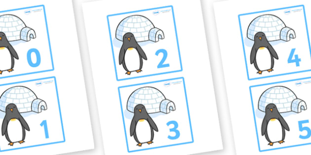 Penguins and Igloos Flashcards (0-40) -  Winter, numeracy, counting, flashcards, flashcard, number words, polar, arctic, display, winter words, Word card, flashcard, snowflake, snow, winter, frost, cold, ice, hat, gloves