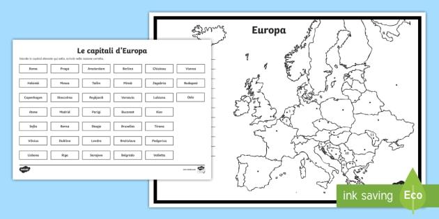 Cartina Capitali Europa.Le Capitali Europee Attivita Geografia Europa Capitali