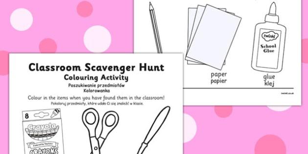 Classroom Scavenger Hunt Colouring Activity Polish Translation