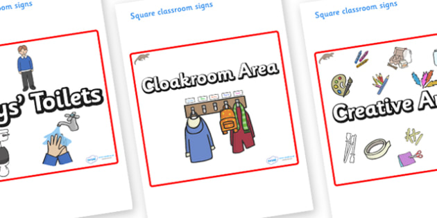 Otter Themed Editable Square Classroom Area Signs (Plain) - Themed Classroom Area Signs, KS1, Banner, Foundation Stage Area Signs, Classroom labels, Area labels, Area Signs, Classroom Areas, Poster, Display, Areas