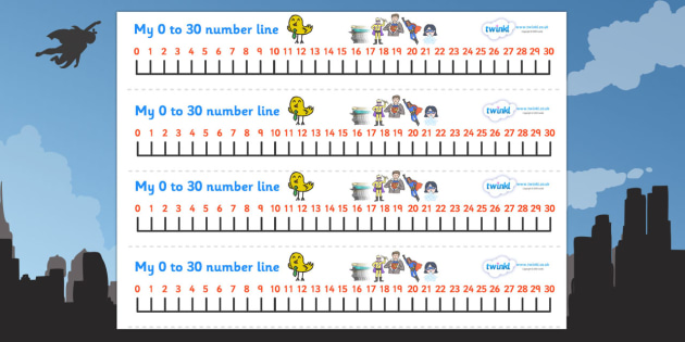Superhero Number Line (0-30) - Counting, Numberline, Number line, Counting on, Counting back, Superhero, superheroes, hero, batman, superman, spiderman, special, power, powers, catwoman, liono, he-man