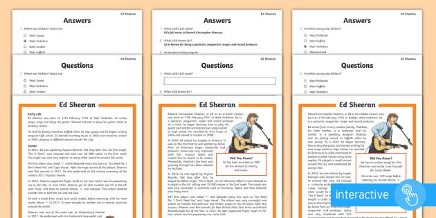 KS2 Ed Sheeran Differentiated Comprehension Go Respond Activity Sheets - musician, interactive, guitarist, music, reading