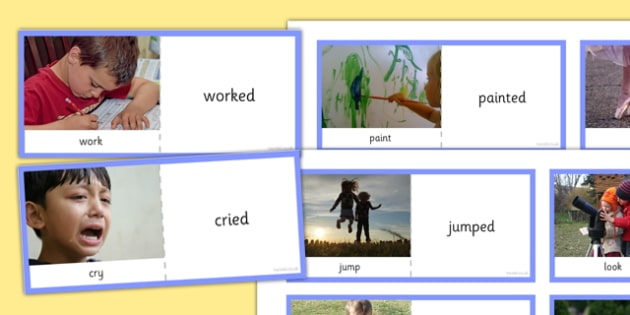 Present and Past Tense Verb Photo Cards - present, past, tense, verb, photo cards