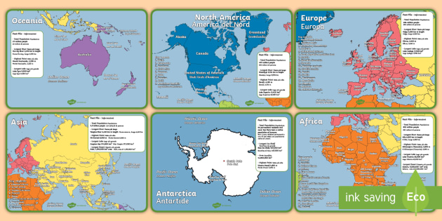 Geography continents of the world fact file display posters geography continents of the world fact file display posters englishitalian ks1 geography continents gumiabroncs Choice Image