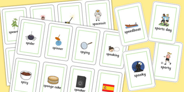 Two Syllable SP Flash Cards - sp, syllable, sen, sound, flash cards