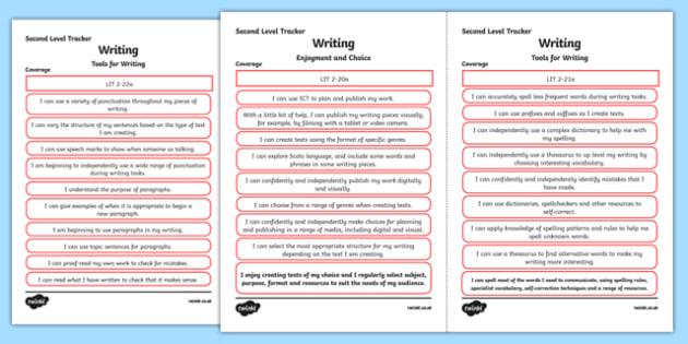 CfE Literacy and English (Writing) Second Level Child Friendly Tracking-Scottish