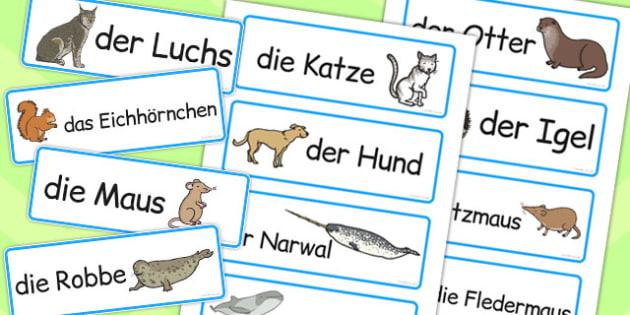 German Animals Word Cards - words, animal, literacy, visual aid