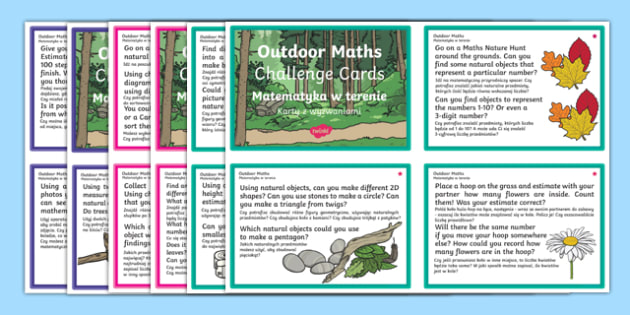 Outdoor Maths Challenge Cards Polish Translation-Polish-translation