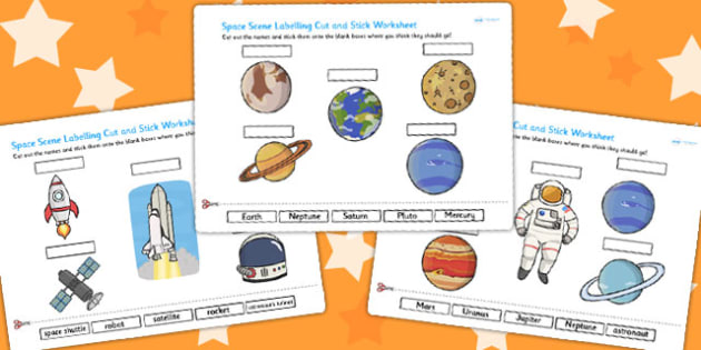 Space Scene Labelling Cut and Stick Worksheet - space, cut, stick
