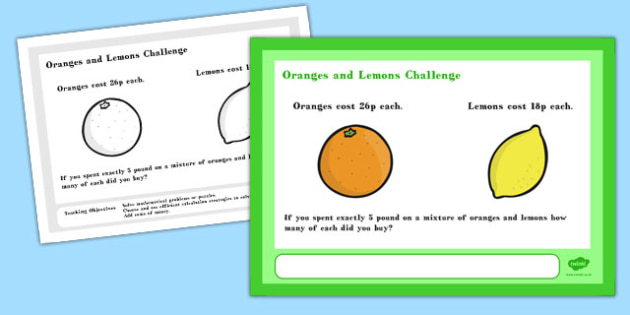 Oranges and Lemons Maths Challenge A4 Display Posters - challenge