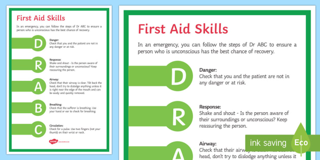 First Aid   Dr ABC Display Poster - responsive, first aid, Dr ABC, airways, breathing, circulation, emergency, care, 1st aid
