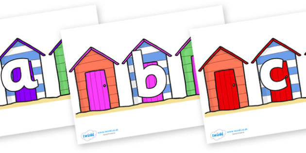Phoneme Set on Beach Huts - Phoneme set, phonemes, phoneme, Letters and Sounds, DfES, display, Phase 1, Phase 2, Phase 3, Phase 5, Foundation, Literacy