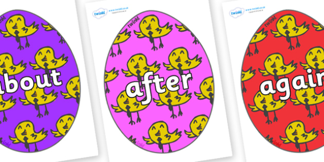 KS1 Keywords on Easter Eggs (Chicks) - KS1, CLL, Communication language and literacy, Display, Key words, high frequency words, foundation stage literacy, DfES Letters and Sounds, Letters and Sounds, spelling