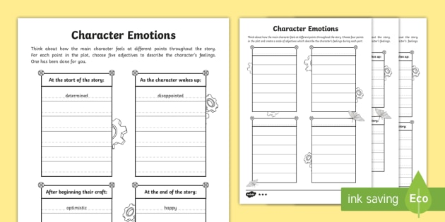 Character Emotions Differentiated Worksheets to Support