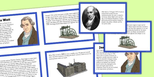 Scottish Significant Individuals James Watt Sequencing Cards -  CfE, significant individuals, engineering, steam engine, horsepower, watt,  science, inventions, inventor, curriculum, excellence