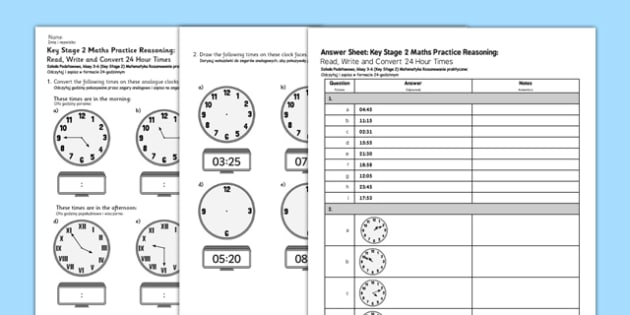 KS2 Reasoning Test: Practice, Read, Write and Convert 24 Hour Times Polish Translation - polish, Key Stage 2, KS2, Reasoning, Test, Practice, Measurement, Time