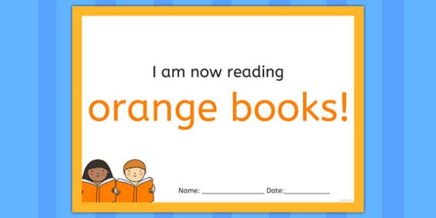 I'm Now Reading Orange Books Certificate - certificate, coloured, reading, book