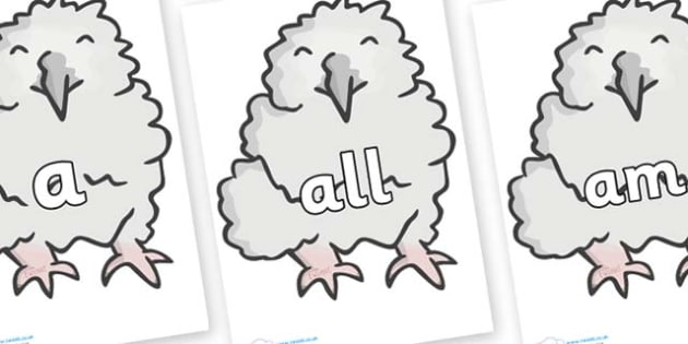 Foundation Stage 2 Keywords on Baby Owls - FS2, CLL, keywords, Communication language and literacy,  Display, Key words, high frequency words, foundation stage literacy, DfES Letters and Sounds, Letters and Sounds, spelling