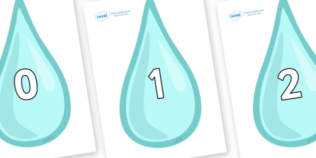 Numbers 0-100 on Water Droplets - 0-100, foundation stage numeracy, Number recognition, Number flashcards, counting, number frieze, Display numbers, number posters