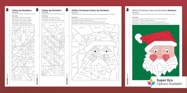KS3 Christmas: Color By Numbers Differentiated Activity Pack