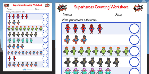 superheroes counting sheet superheroes 1 1 one to one super