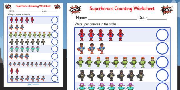 editable superheroes counting sheet