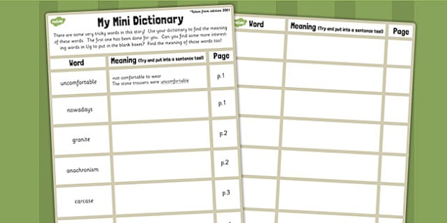 Mini Dictionary Writing Template to Support Teaching on Ug - ug, dictionary, words, vocabulary, sheet