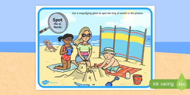 Phase 3 ai Words Beach Scene Magnifying Glass Activity Sheet, worksheet