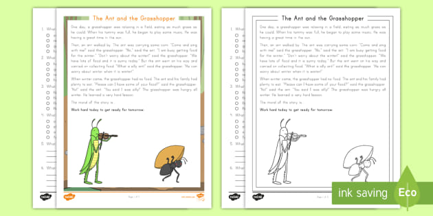 photo about The Ant and the Grasshopper Story Printable called The Ant and the Grhopper Examining Being familiar with