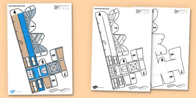 3D Police Station Paper Model Activity - 3d, police station, police, station, paper, craft, paper model