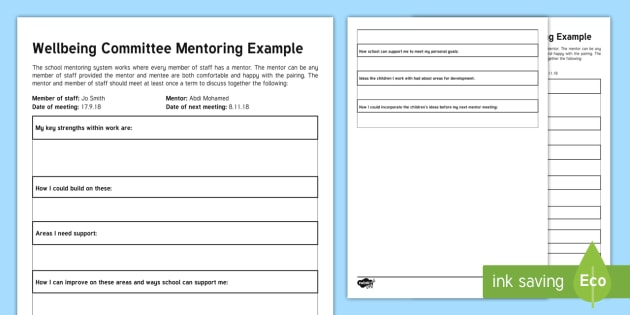 New wellbeing committee mentoring template form for Mentoring application templates