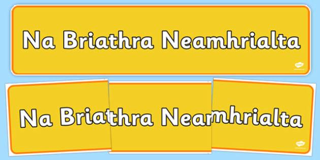Gaeilge Briathra Neamhrialta Banner - gaeilge, briathra, neamhrialta, banner, display