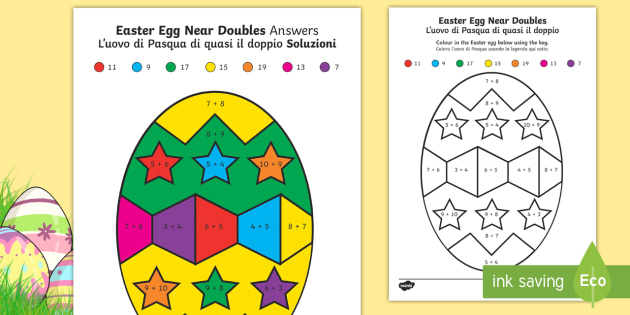 Easter Egg Near Doubles Colour By Number