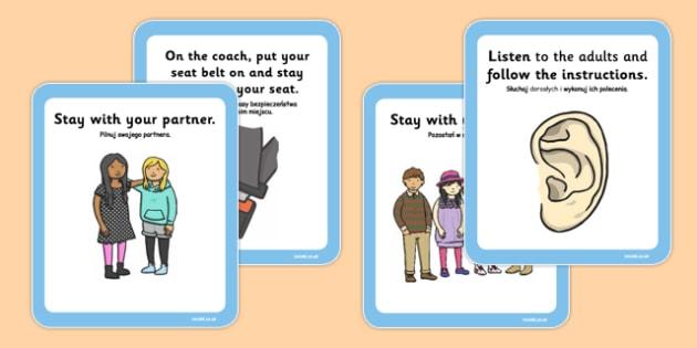 School Trip Rules Cards Polish Translation - polish, school trip, rules, cards, rules cards