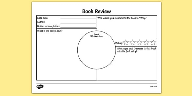 Book Review Worksheet English Resource Twinkl