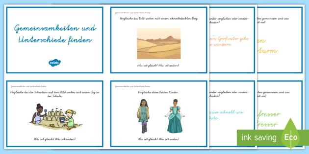 Leseverständnis üben Gemeinsamkeiten und Unterschiede: DIN A4