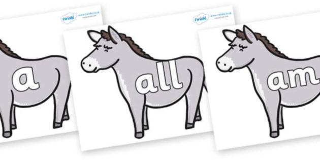 Foundation Stage 2 Keywords on Donkeys - FS2, CLL, keywords, Communication language and literacy,  Display, Key words, high frequency words, foundation stage literacy, DfES Letters and Sounds, Letters and Sounds, spelling
