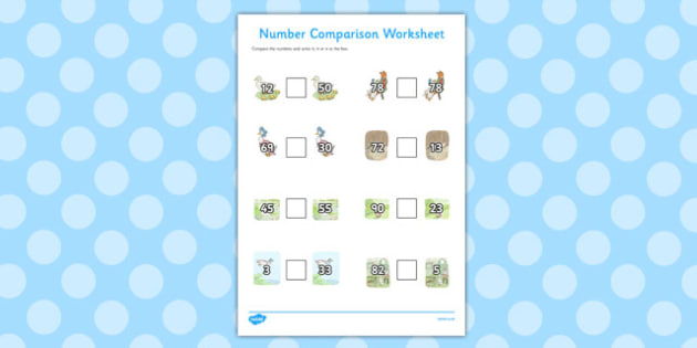 The Tale of Jemima Puddle Duck Number Comparison Worksheets
