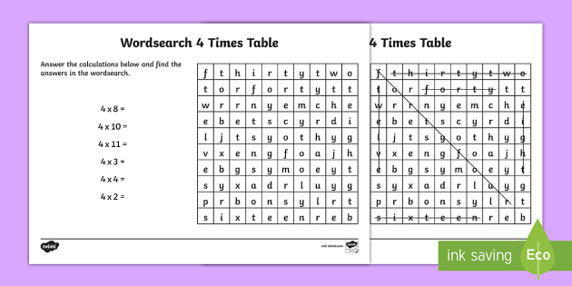 multiplication 4 times tables wordsearch worksheet. Black Bedroom Furniture Sets. Home Design Ideas